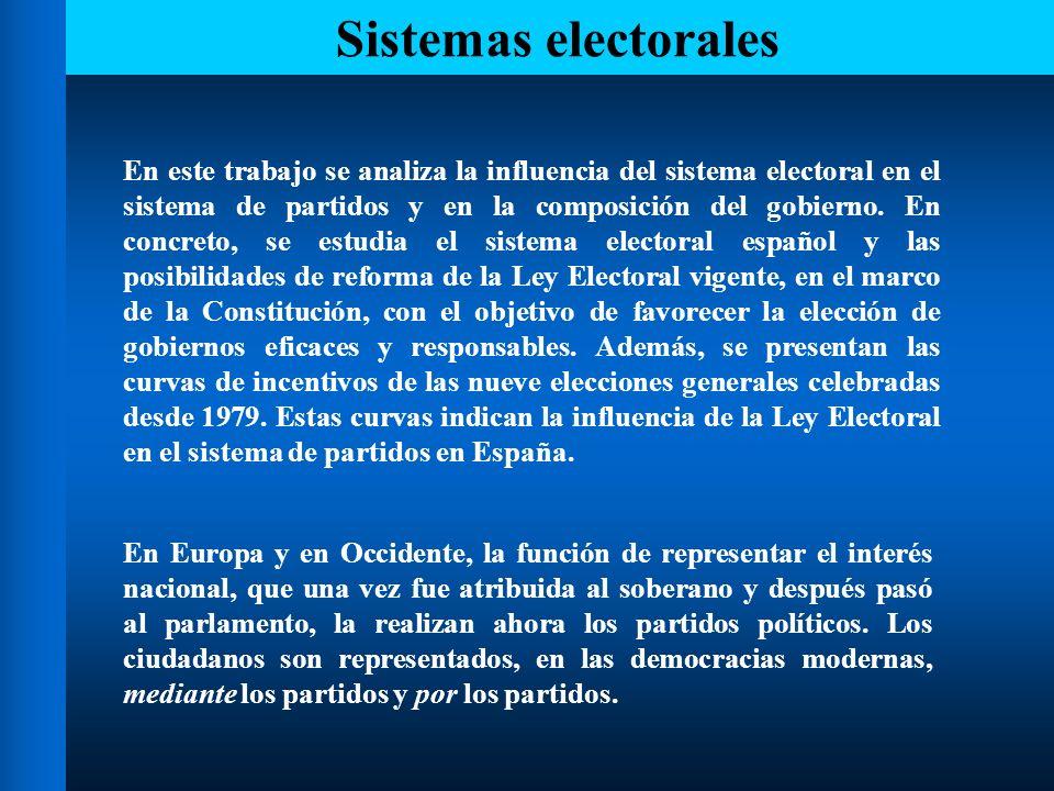 Sistemas electorales Debemos distinguir entre el partido como filtro de la representación política y el partido como príncipe y señor de dicha representación.