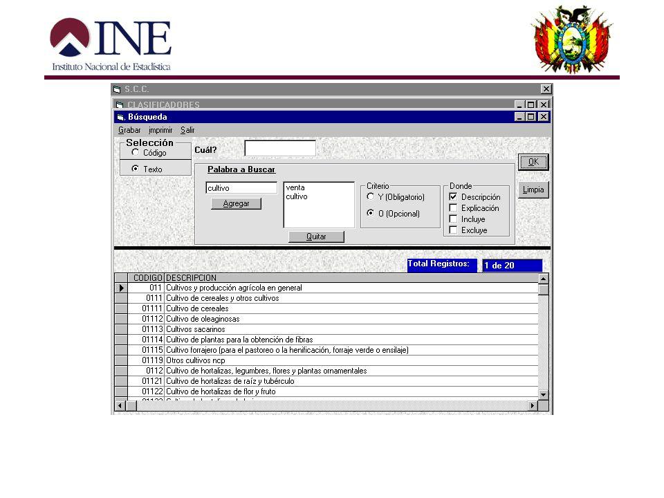 3. Módulo de Búsqueda. Permitirá realizar la búsqueda de un código o descripción, y de esta forma mostrar sus características en particular. La búsque