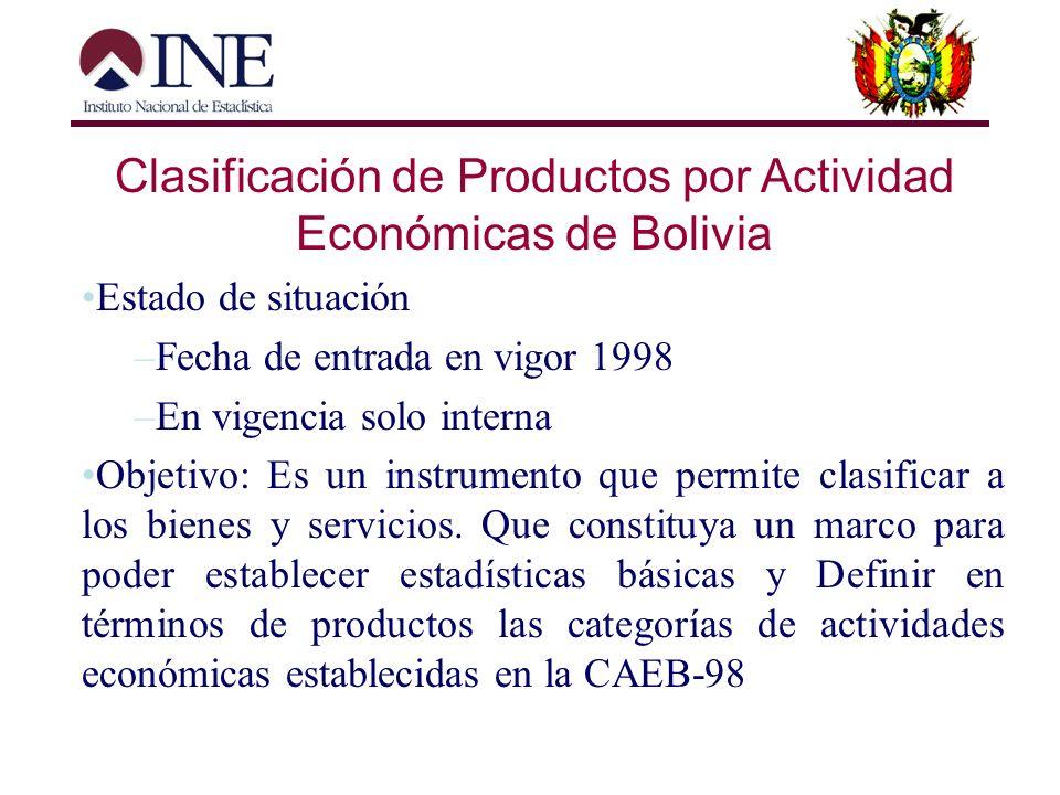 Clasificación de Productos por Actividad Económicas de Bolivia Historia Es una adaptación en primera instancia de la CAEB, en el que se realizo desagr
