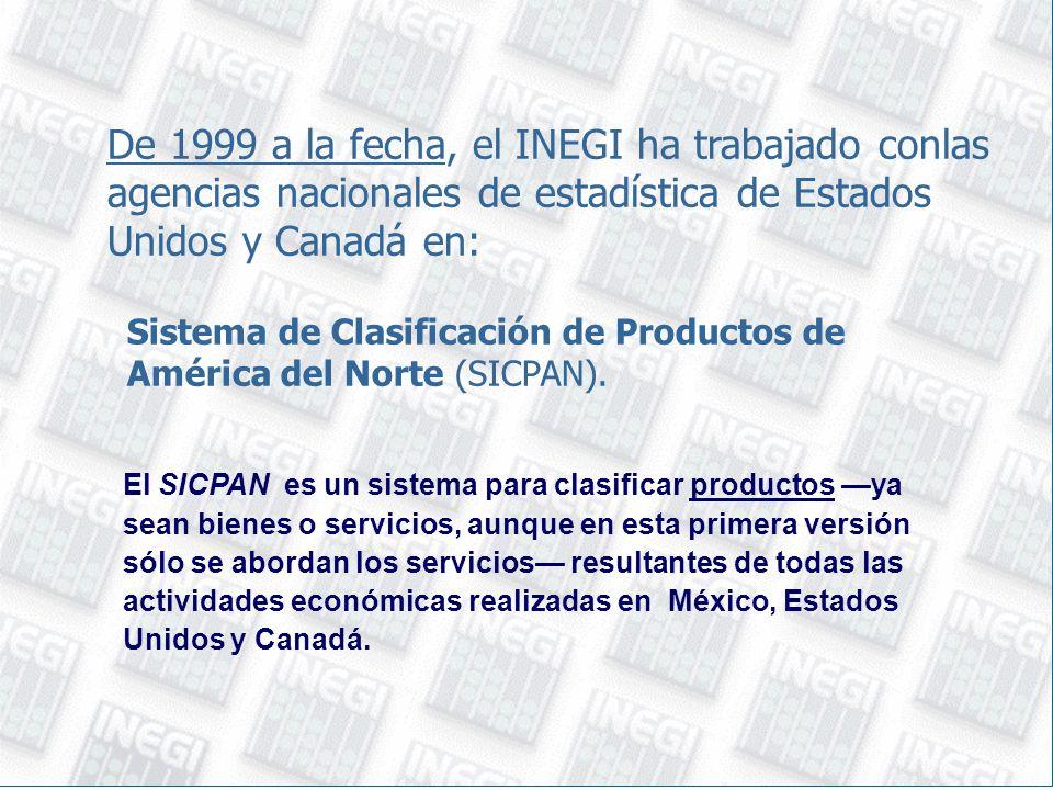 De 1999 a la fecha, el INEGI ha trabajado conlas agencias nacionales de estadística de Estados Unidos y Canadá en: Sistema de Clasificación de Productos de América del Norte (SICPAN).