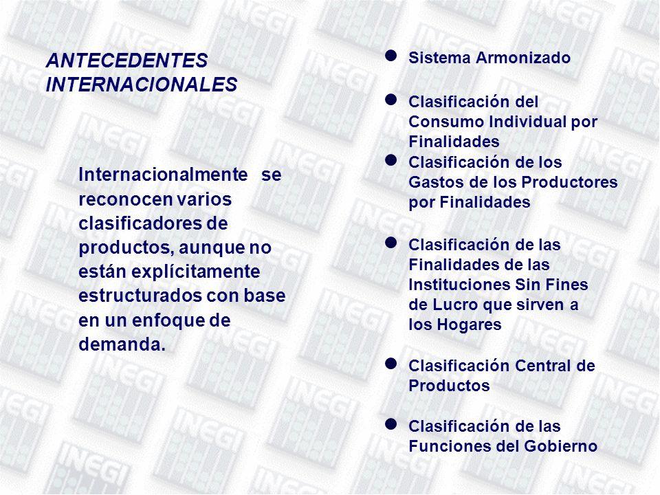 Internacionalmente se reconocen varios clasificadores de productos, aunque no están explícitamente estructurados con base en un enfoque de demanda.