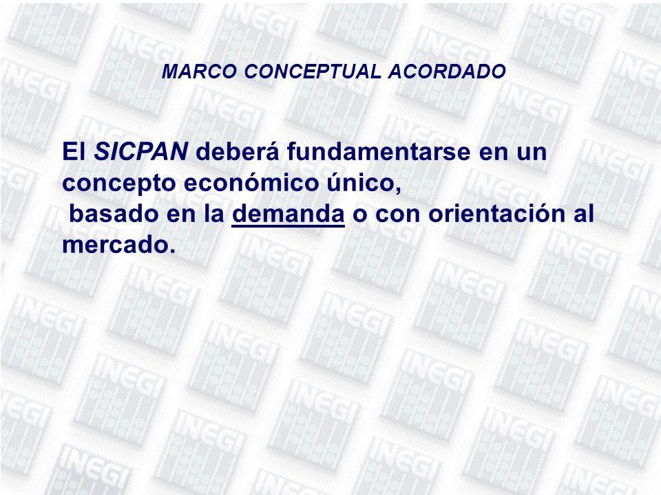 El SICPAN deberá fundamentarse en un concepto económico único, basado en la demanda o con orientación al mercado.