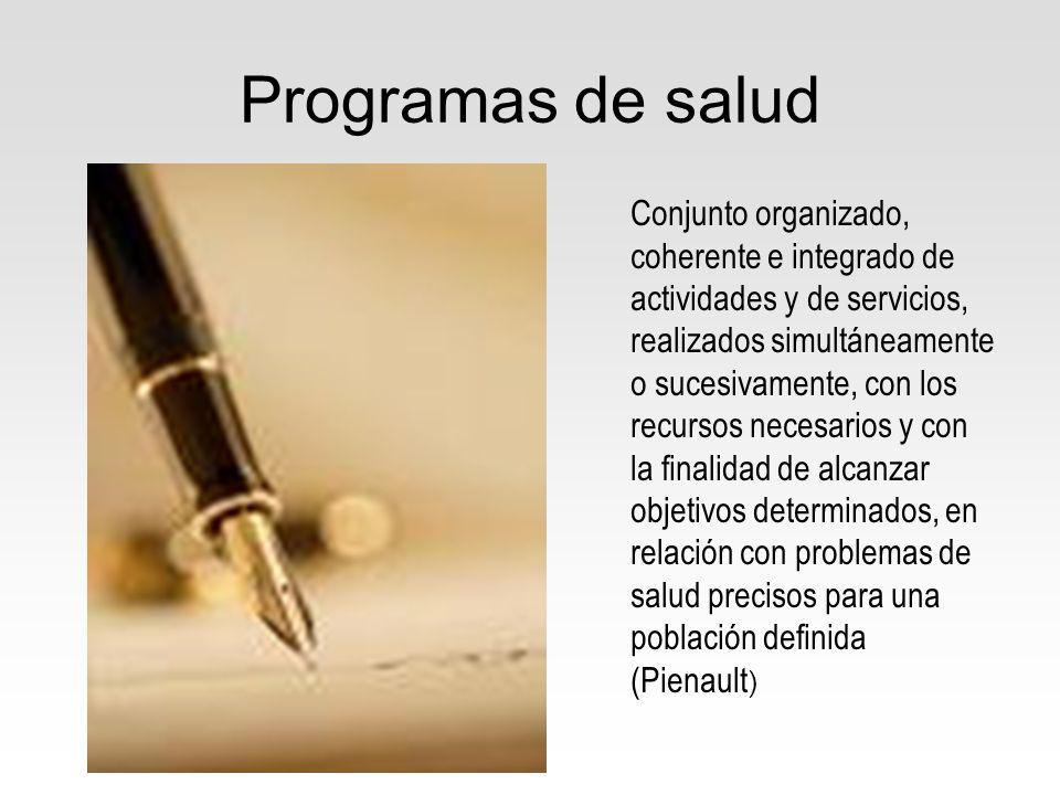 Programas de salud Conjunto organizado, coherente e integrado de actividades y de servicios, realizados simultáneamente o sucesivamente, con los recur