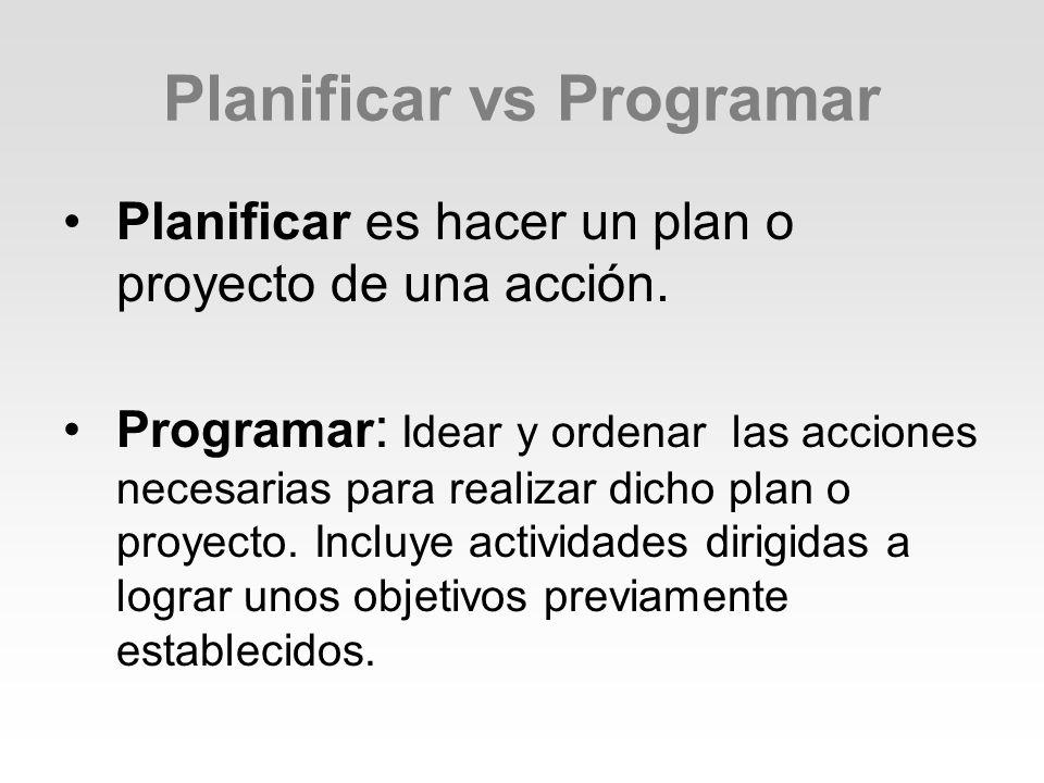 Planificar vs Programar Planificar es hacer un plan o proyecto de una acción. Programar : Idear y ordenar las acciones necesarias para realizar dicho