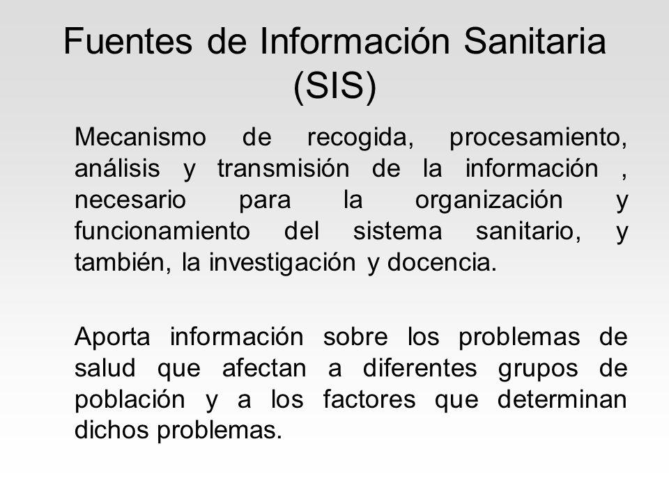 Fuentes de Información Sanitaria (SIS) Mecanismo de recogida, procesamiento, análisis y transmisión de la información, necesario para la organización