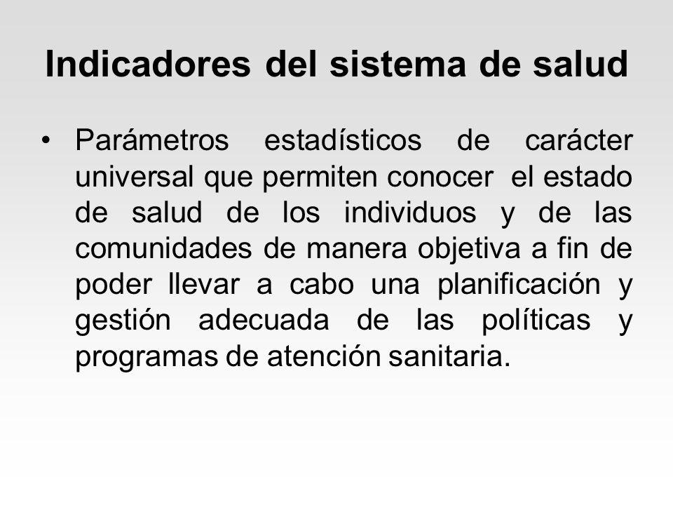 Indicadores del sistema de salud Parámetros estadísticos de carácter universal que permiten conocer el estado de salud de los individuos y de las comu