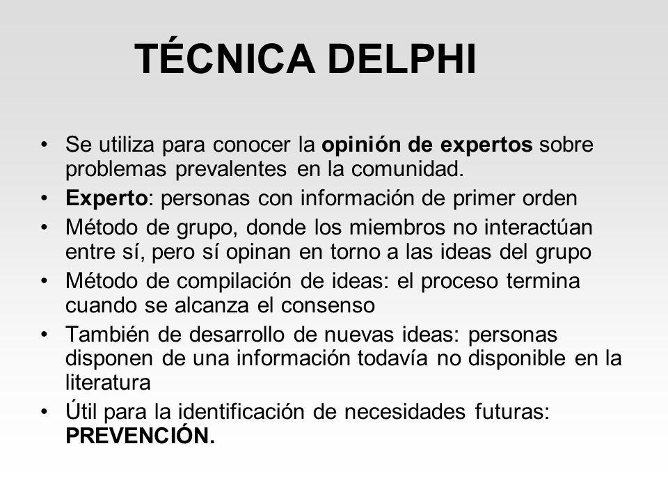 TÉCNICA DELPHI Se utiliza para conocer la opinión de expertos sobre problemas prevalentes en la comunidad. Experto: personas con información de primer