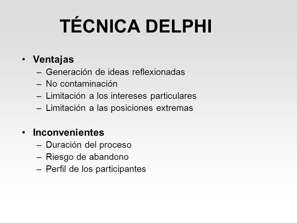 TÉCNICA DELPHI Ventajas –Generación de ideas reflexionadas –No contaminación –Limitación a los intereses particulares –Limitación a las posiciones ext