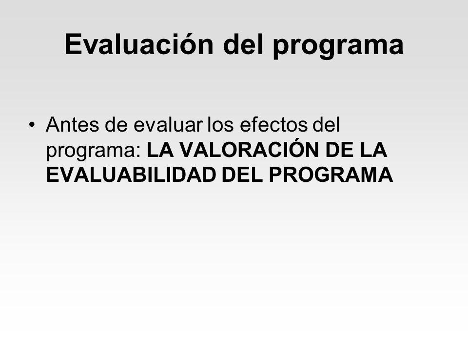 Evaluación del programa Antes de evaluar los efectos del programa: LA VALORACIÓN DE LA EVALUABILIDAD DEL PROGRAMA