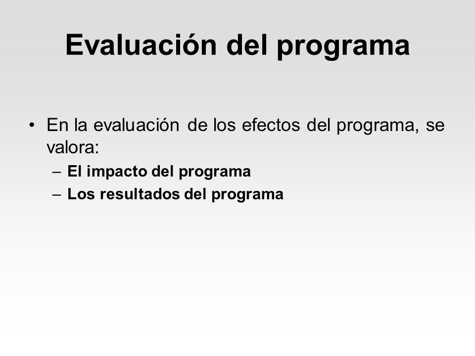 Evaluación del programa En la evaluación de los efectos del programa, se valora: –El impacto del programa –Los resultados del programa