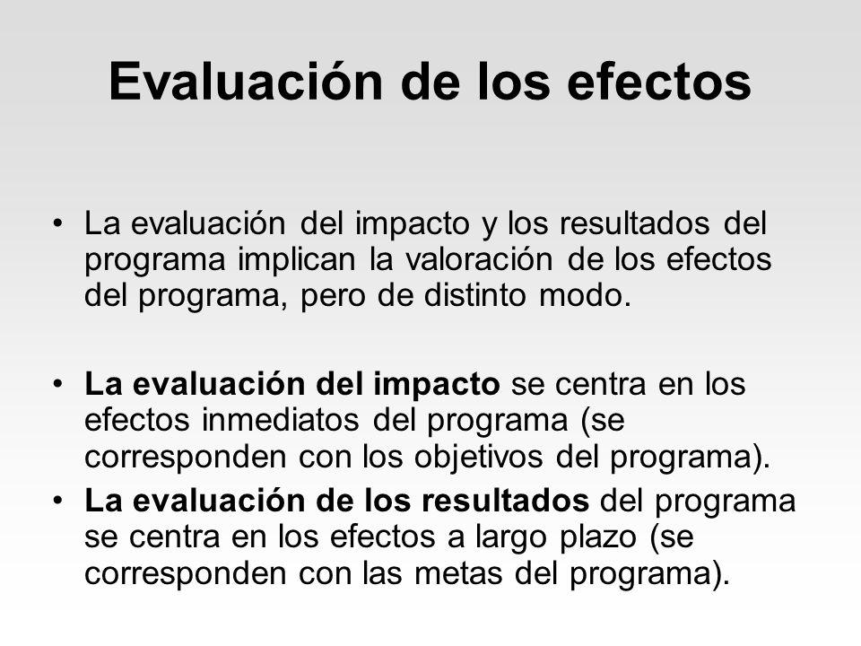 Evaluación de los efectos La evaluación del impacto y los resultados del programa implican la valoración de los efectos del programa, pero de distinto