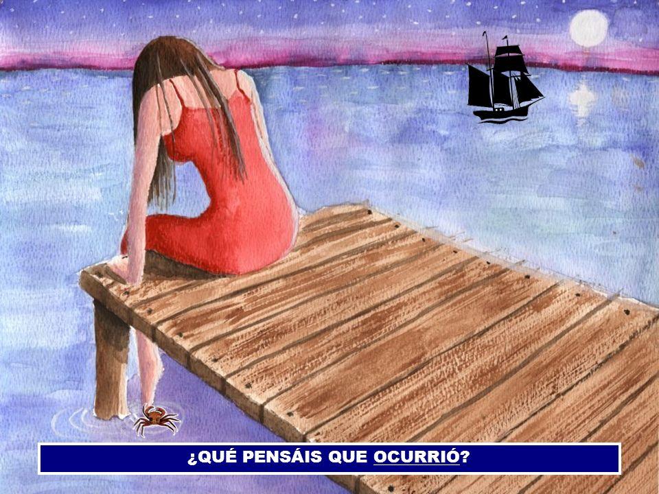 Ella despidió a su amor.Él partió en un barco en el muelle de San Blas.