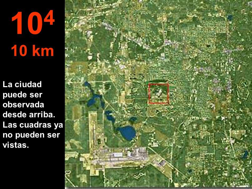 La ciudad puede ser observada desde arriba. Las cuadras ya no pueden ser vistas. 10 4 10 km