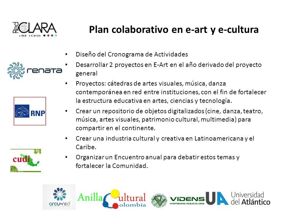Plan colaborativo en e-art y e-cultura Diseño del Cronograma de Actividades Desarrollar 2 proyectos en E-Art en el año derivado del proyecto general Proyectos: cátedras de artes visuales, música, danza contemporánea en red entre instituciones, con el fin de fortalecer la estructura educativa en artes, ciencias y tecnología.
