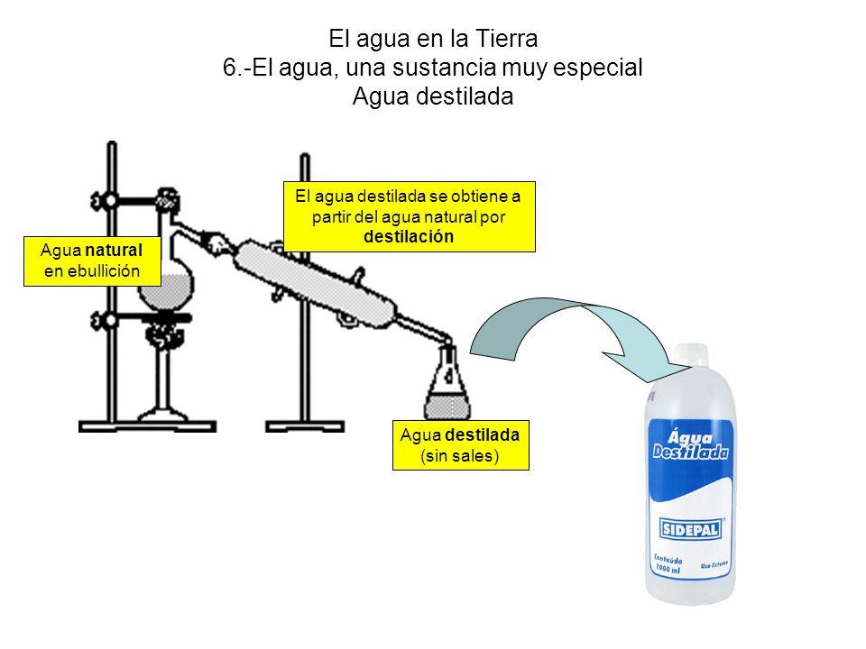 El agua en la Tierra 6.-El agua, una sustancia muy especial Agua destilada El agua destilada se obtiene a partir del agua natural por destilación Agua natural en ebullición Agua destilada (sin sales)