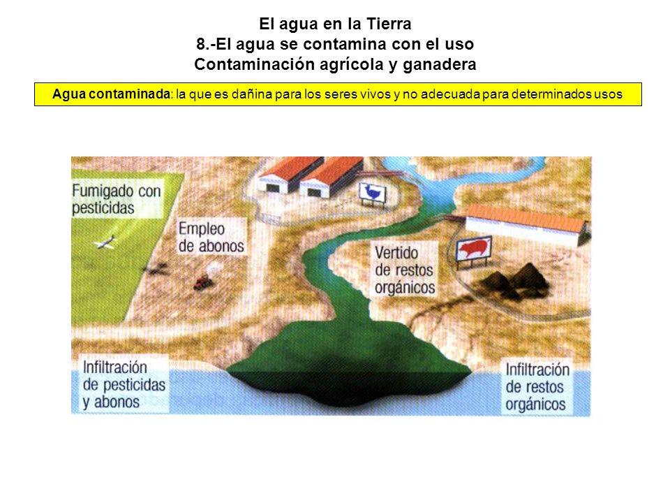 El agua en la Tierra 8.-El agua se contamina con el uso Contaminación agrícola y ganadera Agua contaminada: la que es dañina para los seres vivos y no adecuada para determinados usos