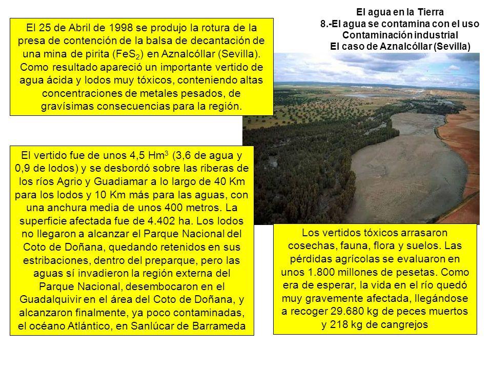 El agua en la Tierra 8.-El agua se contamina con el uso Contaminación industrial El caso de Aznalcóllar (Sevilla) El 25 de Abril de 1998 se produjo la rotura de la presa de contención de la balsa de decantación de una mina de pirita (FeS 2 ) en Aznalcóllar (Sevilla).
