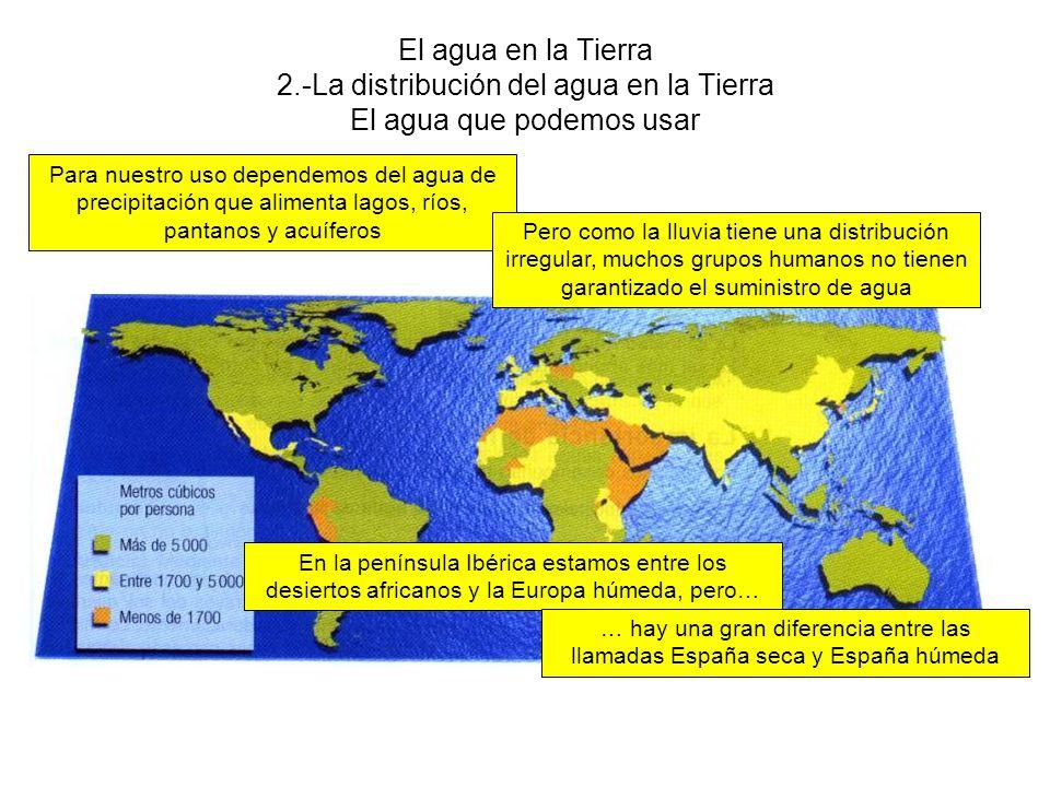 El agua en la Tierra 2.-La distribución del agua en la Tierra El agua que podemos usar Para nuestro uso dependemos del agua de precipitación que alimenta lagos, ríos, pantanos y acuíferos Pero como la lluvia tiene una distribución irregular, muchos grupos humanos no tienen garantizado el suministro de agua En la península Ibérica estamos entre los desiertos africanos y la Europa húmeda, pero… … hay una gran diferencia entre las llamadas España seca y España húmeda