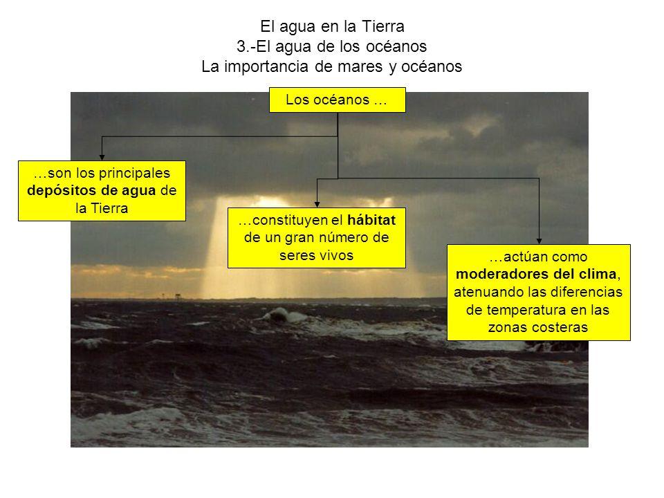 El agua en la Tierra 3.-El agua de los océanos La importancia de mares y océanos Los océanos … …constituyen el hábitat de un gran número de seres vivos …son los principales depósitos de agua de la Tierra …actúan como moderadores del clima, atenuando las diferencias de temperatura en las zonas costeras