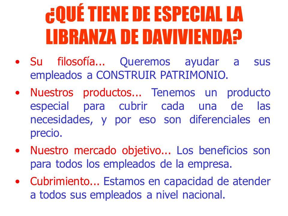 ¿QUÉ TIENE DE ESPECIAL LA LIBRANZA DE DAVIVIENDA? Su filosofía... Queremos ayudar a sus empleados a CONSTRUIR PATRIMONIO. Nuestros productos... Tenemo