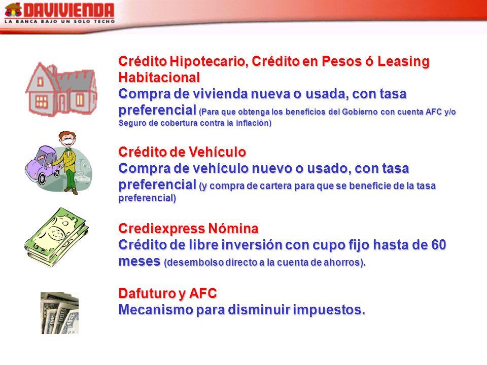 Crédito Hipotecario, Crédito en Pesos ó Leasing Habitacional Compra de vivienda nueva o usada, con tasa preferencial (Para que obtenga los beneficios