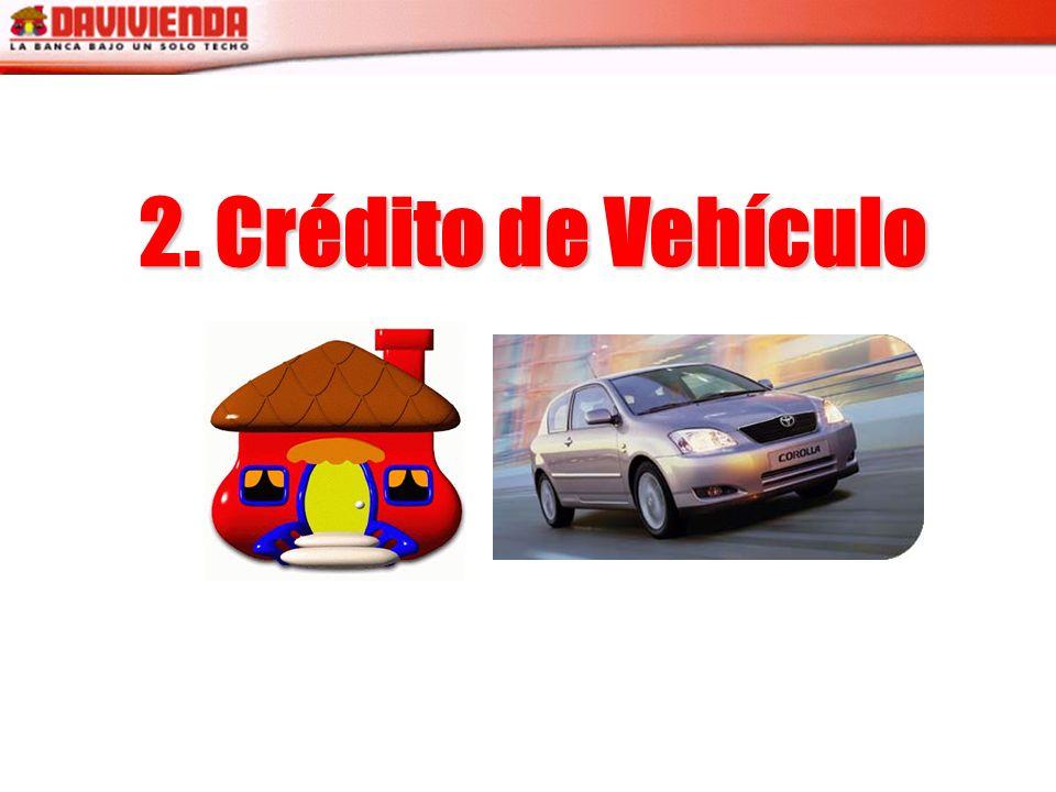 90% de Financiación a 60 meses Vehículos desde modelos 1996 Cuota Fija Los trámites se hacen unicamente con tramitadores autorizados por Davivienda Sin sanción por prepago.