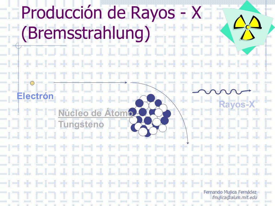 Fernando Mujica Fernádez fmujica@alum.mit.edu Producción de Rayos - X (Bremsstrahlung) Electrón Rayos-X Núcleo de Átomo Tungsteno