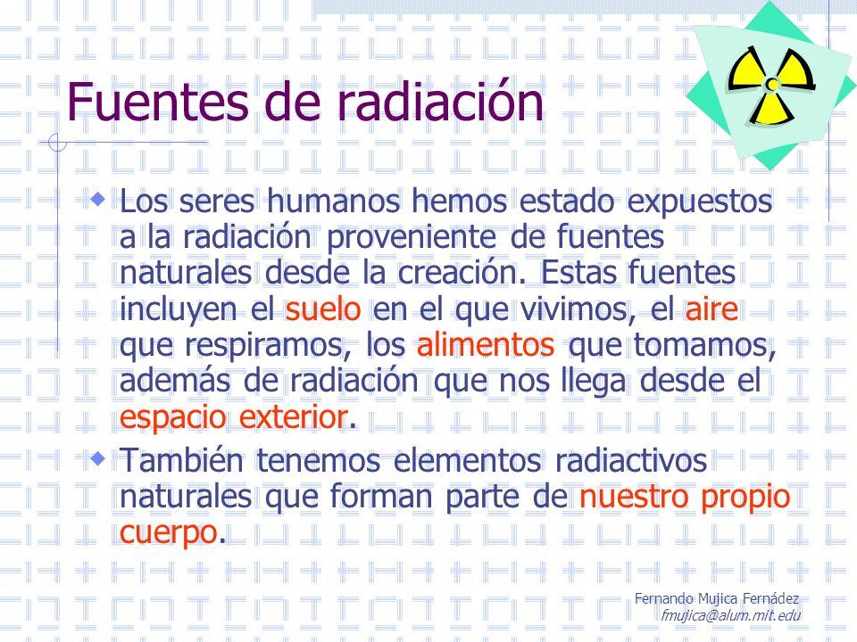 Fernando Mujica Fernádez fmujica@alum.mit.edu Fuentes de radiación Los seres humanos hemos estado expuestos a la radiación proveniente de fuentes natu