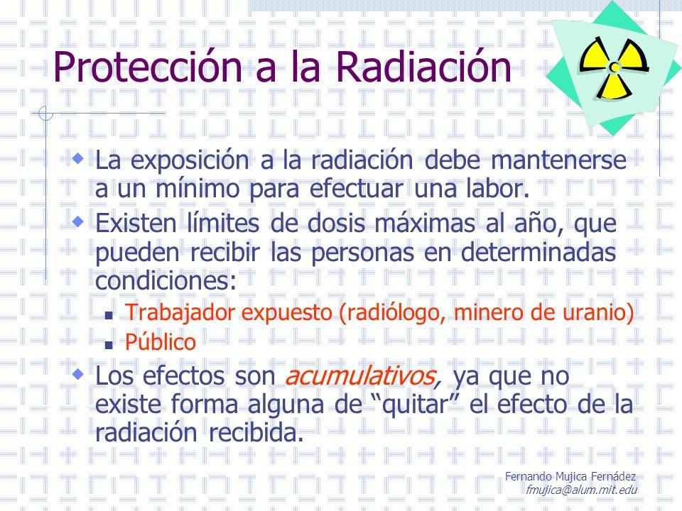 Fernando Mujica Fernádez fmujica@alum.mit.edu Protección a la Radiación La exposición a la radiación debe mantenerse a un mínimo para efectuar una lab