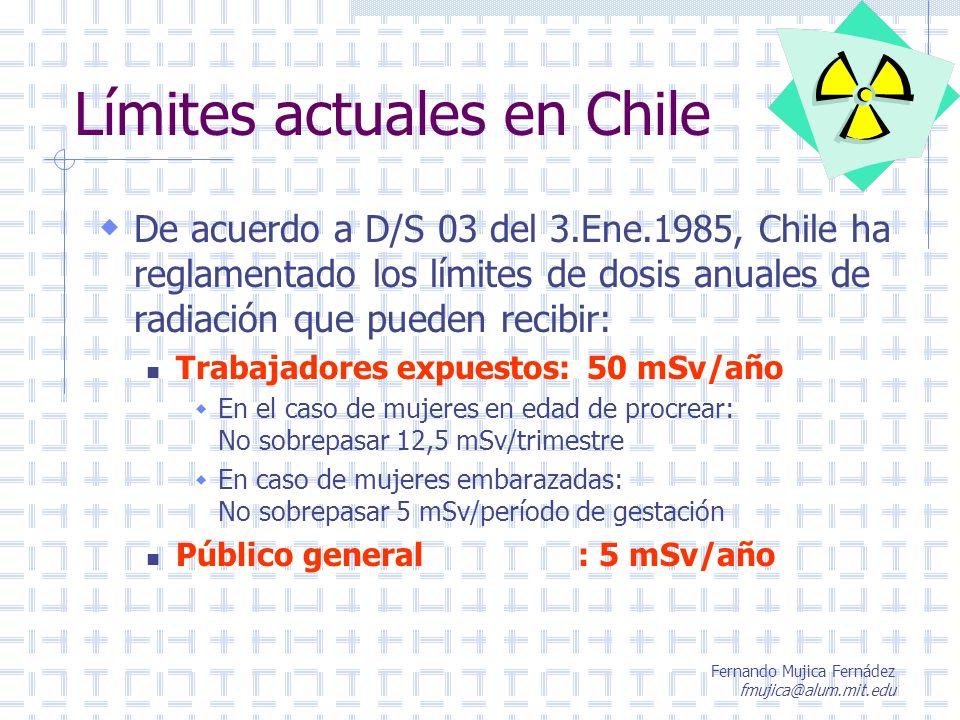 Fernando Mujica Fernádez fmujica@alum.mit.edu Límites actuales en Chile De acuerdo a D/S 03 del 3.Ene.1985, Chile ha reglamentado los límites de dosis