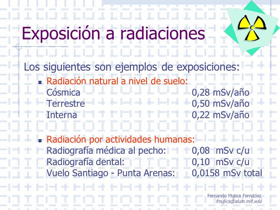 Fernando Mujica Fernádez fmujica@alum.mit.edu Exposición a radiaciones Los siguientes son ejemplos de exposiciones: Radiación natural a nivel de suelo