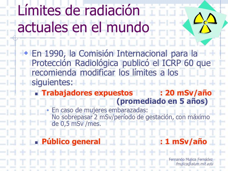 Fernando Mujica Fernádez fmujica@alum.mit.edu Límites de radiación actuales en el mundo En 1990, la Comisión Internacional para la Protección Radiológ
