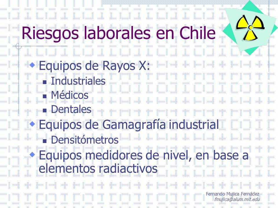 Fernando Mujica Fernádez fmujica@alum.mit.edu Riesgos laborales en Chile Equipos de Rayos X: Industriales Médicos Dentales Equipos de Gamagrafía indus