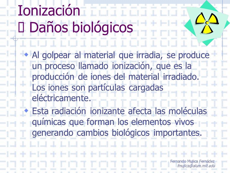 Fernando Mujica Fernádez fmujica@alum.mit.edu Ionización Daños biológicos Al golpear al material que irradia, se produce un proceso llamado ionización