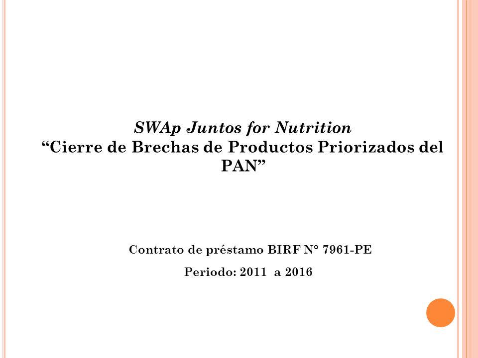 SWAp Juntos for Nutrition Cierre de Brechas de Productos Priorizados del PAN Contrato de préstamo BIRF N° 7961-PE Periodo: 2011 a 2016 Ministerio de E