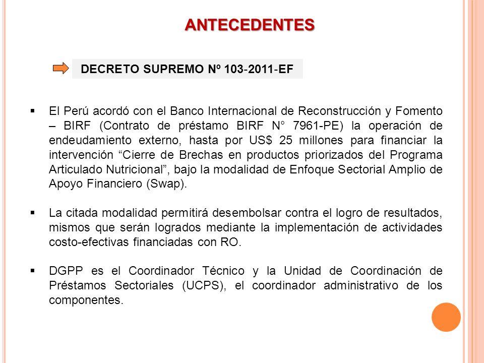 ANTECEDENTES DECRETO SUPREMO Nº 103 2011 EF El Perú acordó con el Banco Internacional de Reconstrucción y Fomento – BIRF (Contrato de préstamo BIRF N°