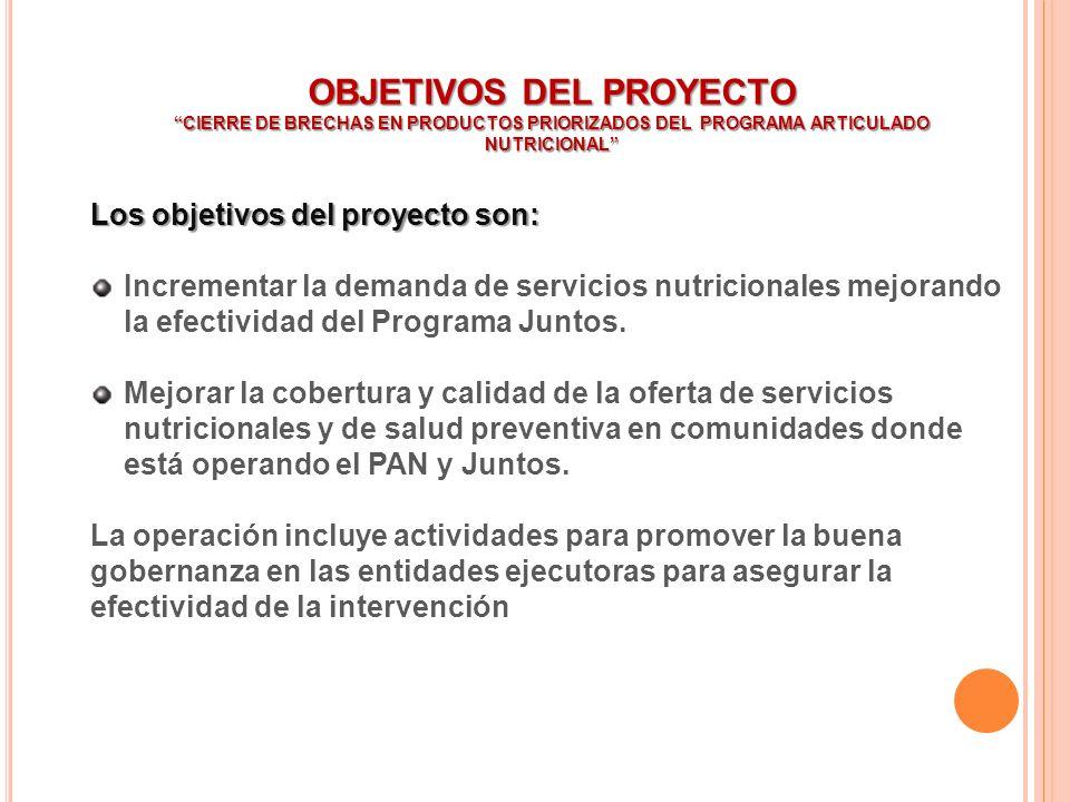 OBJETIVOS DEL PROYECTO CIERRE DE BRECHAS EN PRODUCTOS PRIORIZADOS DEL PROGRAMA ARTICULADO NUTRICIONAL Los objetivos del proyecto son: Incrementar la d