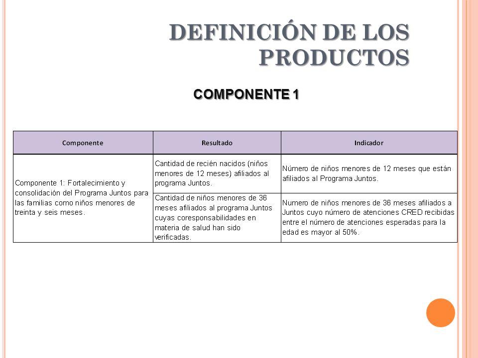 DEFINICIÓN DE LOS PRODUCTOS COMPONENTE 1