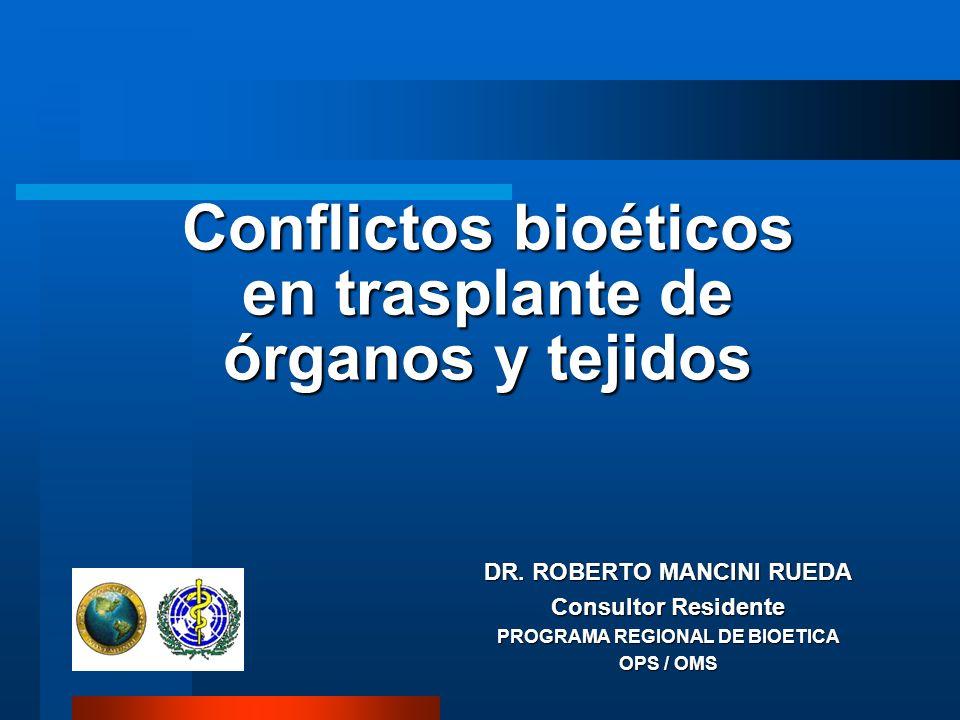 Conflictos bioéticos en trasplante de órganos y tejidos DR.