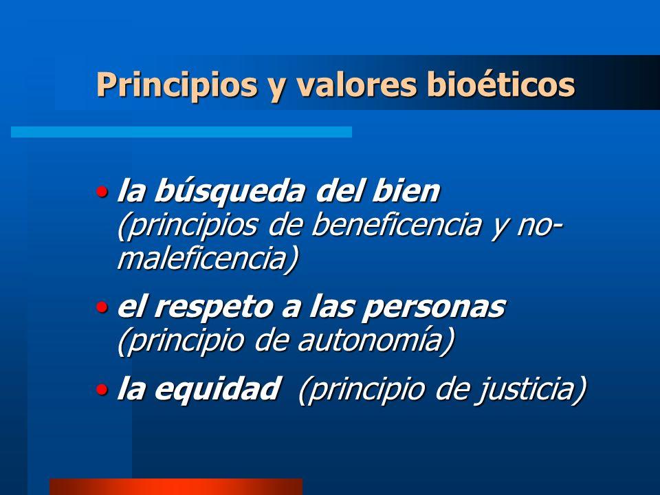 la búsqueda del bien (principios de beneficencia y no- maleficencia)la búsqueda del bien (principios de beneficencia y no- maleficencia) el respeto a las personas (principio de autonomía)el respeto a las personas (principio de autonomía) la equidad (principio de justicia)la equidad (principio de justicia) Principios y valores bioéticos
