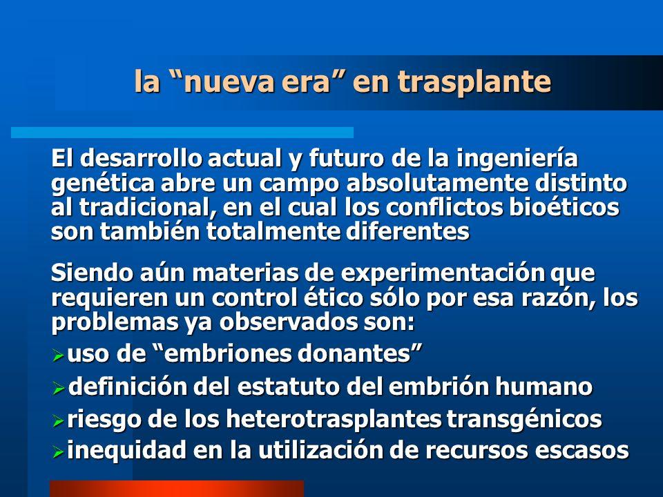 la nueva era en trasplante El desarrollo actual y futuro de la ingeniería genética abre un campo absolutamente distinto al tradicional, en el cual los conflictos bioéticos son también totalmente diferentes Siendo aún materias de experimentación que requieren un control ético sólo por esa razón, los problemas ya observados son: uso de embriones donantes uso de embriones donantes definición del estatuto del embrión humano definición del estatuto del embrión humano riesgo de los heterotrasplantes transgénicos riesgo de los heterotrasplantes transgénicos inequidad en la utilización de recursos escasos inequidad en la utilización de recursos escasos