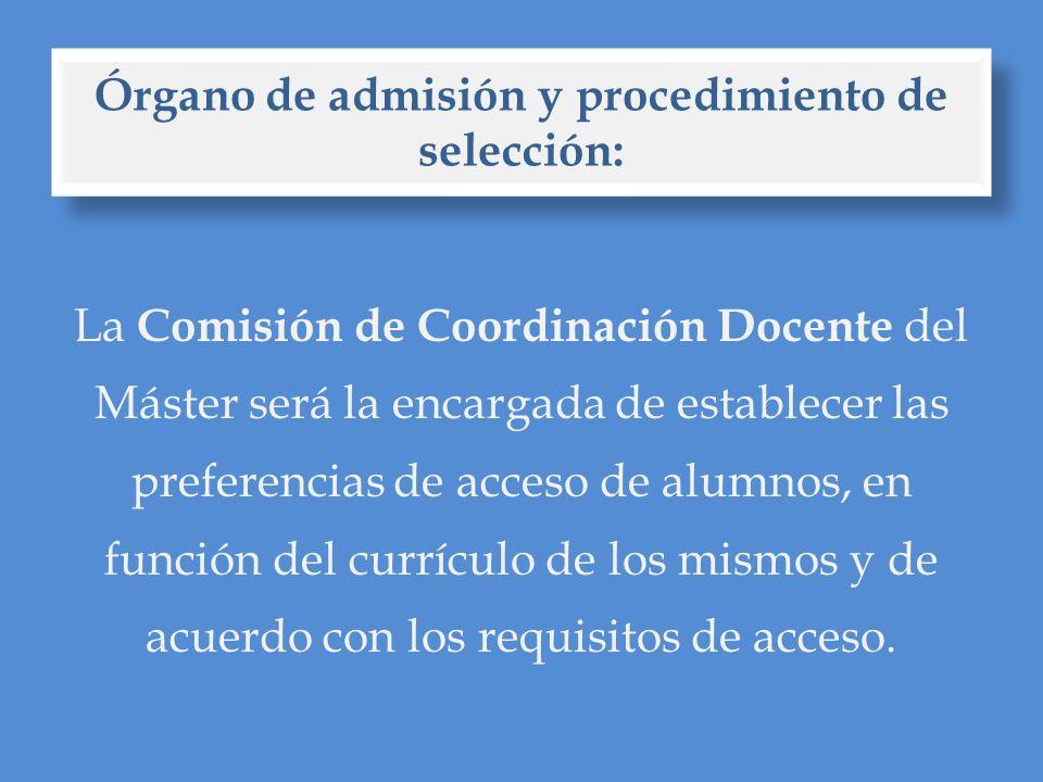 Requisitos de acceso: Adecuación del expediente al perfil del máster: 50%.