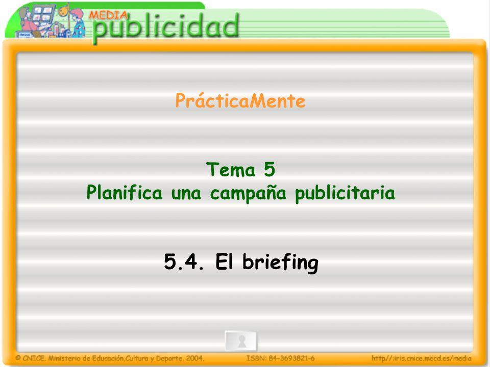 PrácticaMente Tema 5 Planifica una campaña publicitaria 5.4. El briefing