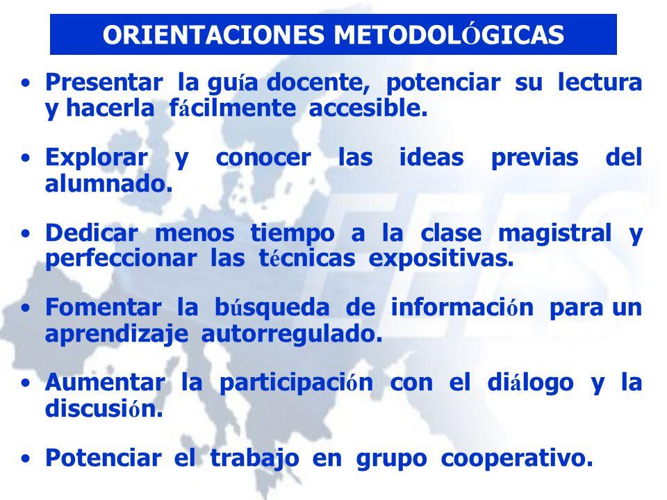 ORIENTACIONES METODOL Ó GICAS Presentar la gu í a docente, potenciar su lectura y hacerla f á cilmente accesible.