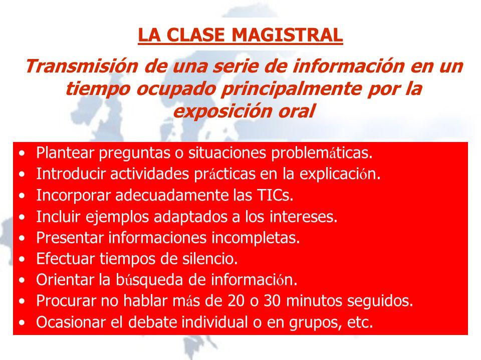 LA CLASE MAGISTRAL Plantear preguntas o situaciones problem á ticas.