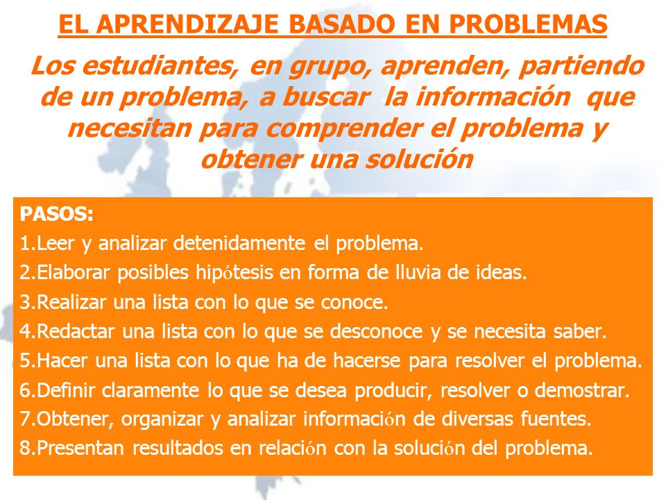 EL APRENDIZAJE BASADO EN PROBLEMAS PASOS: 1.Leer y analizar detenidamente el problema.
