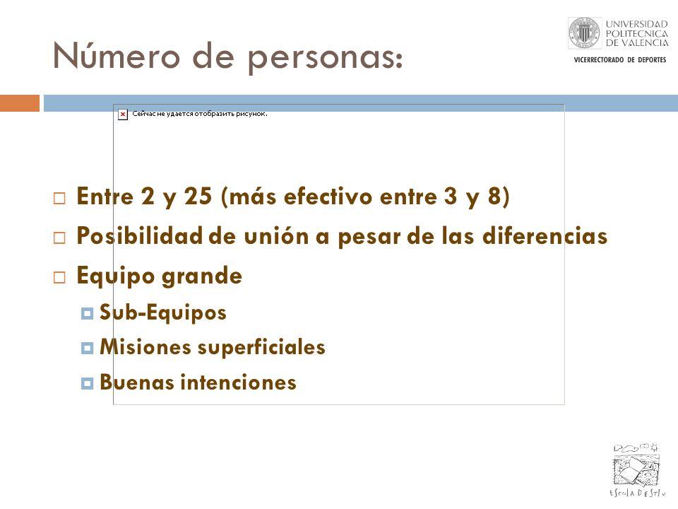 Número de personas: Entre 2 y 25 (más efectivo entre 3 y 8) Posibilidad de unión a pesar de las diferencias Equipo grande Sub-Equipos Misiones superfi
