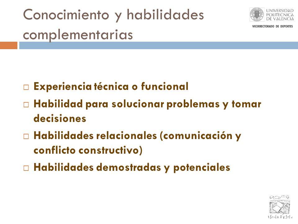 Conocimiento y habilidades complementarias Experiencia técnica o funcional Habilidad para solucionar problemas y tomar decisiones Habilidades relacion