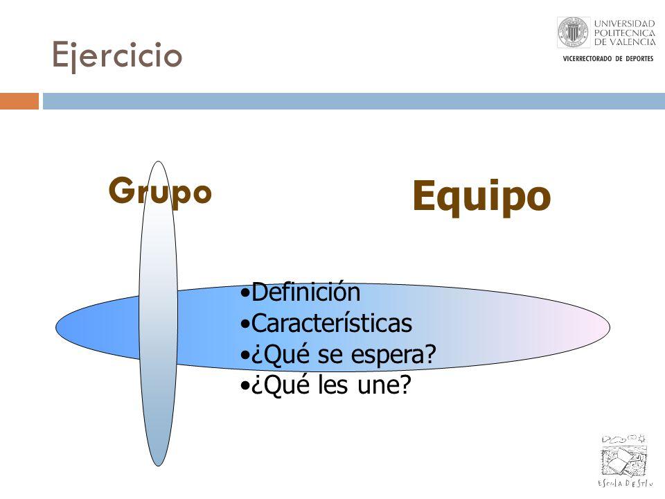 Ejercicio Grupo Equipo Definición Características ¿Qué se espera? ¿Qué les une?