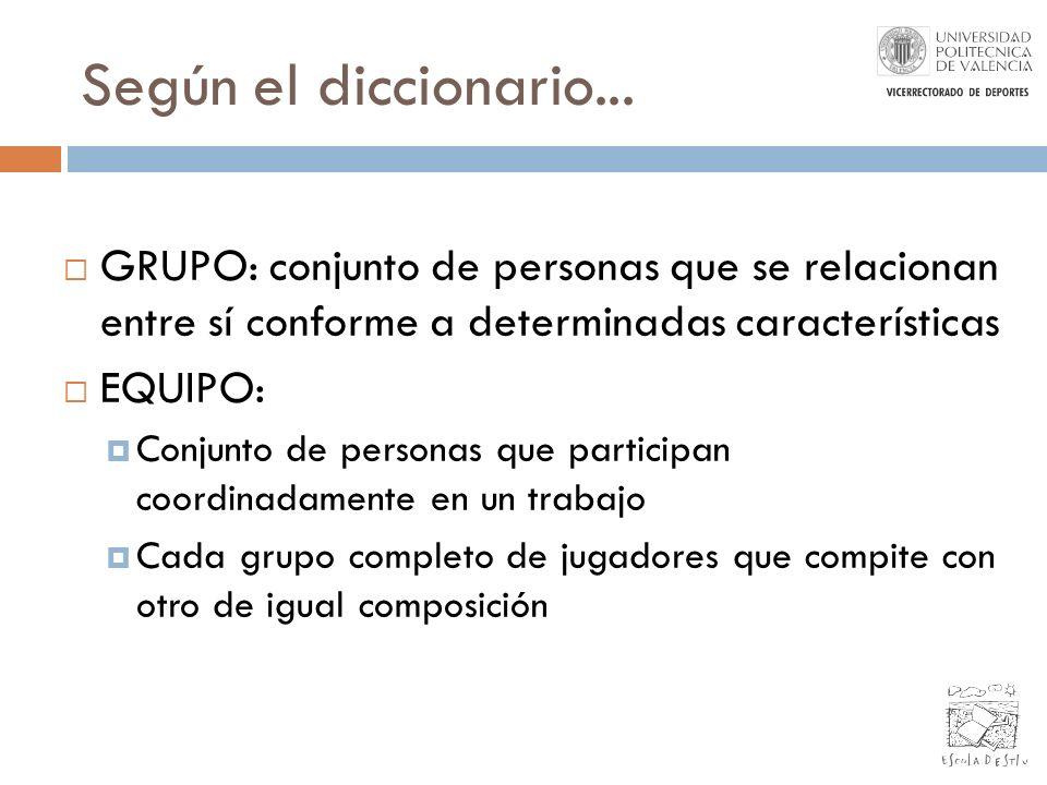 Según el diccionario... GRUPO: conjunto de personas que se relacionan entre sí conforme a determinadas características EQUIPO: Conjunto de personas qu
